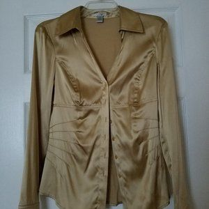 Cache silk long sleeve collared gold button down